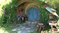 Hobbit House Blue New Zealand Stock Footage