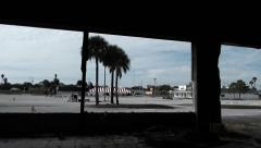 Stock Video Footage of inside looking out of old rundown building