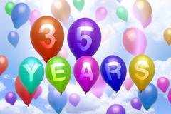 35 years happy birthday balloon colorful balloons - stock illustration