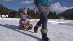 Stock Video Footage of School Girl Enjoys Sunny Winter Holidays While Pulled On Sledge Through Snow
