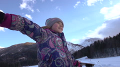 Portrait Of  A Happy Girl Enjoying Fresh Air In The Mountains - stock footage