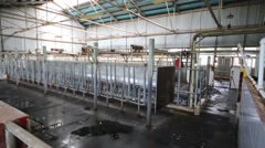 Empty clean hangar with equipment for a cow-washer in farm. Stock Footage