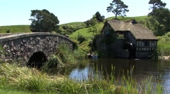 Hobbiton Watermill in New Zealand Stock Footage
