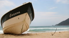 A brazilian fisher ship in the Praia do Sono Beach - Rio de Janeiro, Brazil Stock Footage