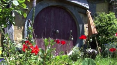 Hobbit Door with Poppies New Zealand Stock Footage
