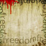 """Stock Illustration of Vintage wooden background with the word """"freedom"""""""