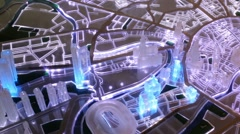 Moscow districts layout made of plastic at building exhibition. Stock Footage