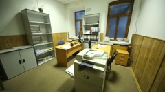 Office room with two working places and equipment Stock Footage