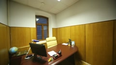 Office room of executive, stylish table, wooden trim, parquet. Stock Footage