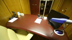 Office room of executive, stylish furniture, wooden trim Stock Footage