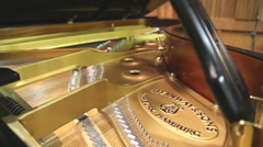 Inside look at steinway grand piano Stock Footage