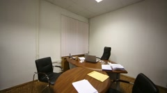 Office room of executive, stylish furniture, parquet. Stock Footage
