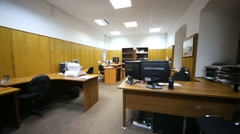 Moving through office room between working places. Stock Footage