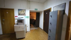 Moving along corridor to checkpoint and exit from office floor. Stock Footage