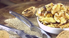 Walnut seeds (not loopable) Stock Footage