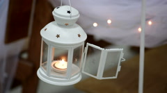 decorative lamp with a candle, wedding decor - stock footage