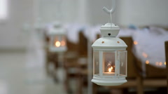Decorative lamp with a candle, wedding decor Stock Footage
