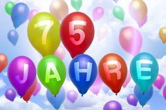 german 75 years balloon colorful balloons - stock illustration