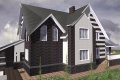 modern cottage - stock illustration