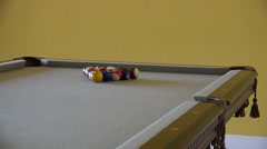 HD clip of a billiard ball triangle during the break shot Stock Footage