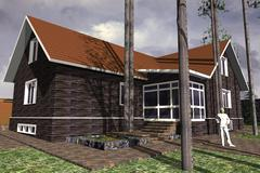 Stock Illustration of modern cottage