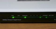 Wi-Fi Modem Lights Flashing 4k Stock Footage