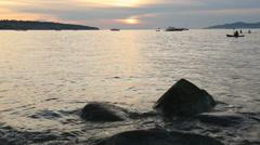 English Bay Sunset Paddle, Vancouver - stock footage