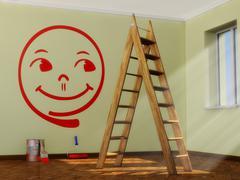 cheerful smiley - stock illustration