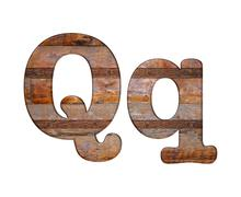 letter q wooden and rusty metal. - stock illustration