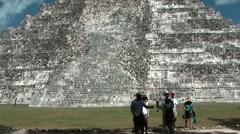 Stock Video Footage of Mexico Yucatan Central America Chichen Itza 016 Temple of Kukulkan