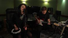 recording rock songs in the Studio. Music, art, song - stock footage