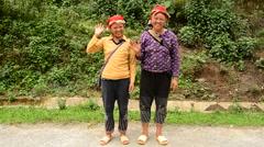 Hmong Women Waving Hello - Sapa  Vietnam Stock Footage
