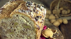 Fresh baked walnut bread (not loopable) Stock Footage