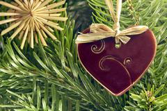 Straw christmas ornaments Stock Photos