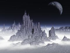 Fantasy landscape.elements of this image furnished by nasa. Stock Illustration