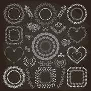 Hand-Drawn Floral Frames Stock Illustration