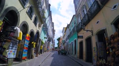 Street view of tourists and pedestrian traffic in Pelourinho in Salvador, Brazil - stock footage
