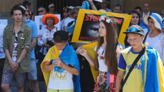 Young protestors at anti Putin rally 4K Stock Footage