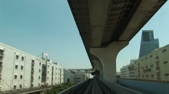 POV  Tokyo Citytram 9 - Japan. Monorail. Elevated trainride. Yurikamome - stock footage