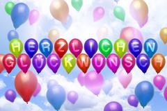 german congratulations balloon colorful balloons - stock illustration