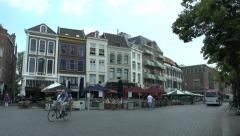 General street view in the Grote Markt in Nijmegen, Netherlands. Stock Footage