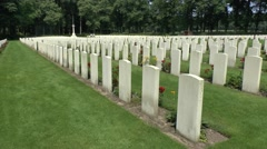 Headstones in the Arnhem Oosterbeek War Cemetery, Oosterbeek, the Netherlands. Stock Footage