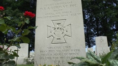 Grave of Flt Lt David Lord VC DFC, Arnhem Oosterbeek War Cemetery,Netherlands. Stock Footage