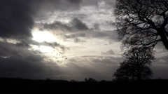Foreboding sky with storm clouds and sunshine Stock Footage
