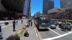 View of Avenida Paulista (Paulista Avenue) in Sao Paulo, Brazil Stock Footage