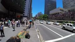 View of Avenida Paulista (Paulista Avenue) in Sao Paulo, Brazil Stock Footage