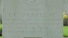 Grave of Captain Lionel Queripel VC, Arnhem Oosterbeek War Cemetery. Stock Footage