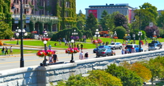 4K Summer Flower Baskets in Downtown Victoria BC Canada, Tourist Season Stock Footage