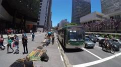 Time Lapse on Avenida Paulista (Paulista Avenue) in Sao Paulo, Brazil Stock Footage