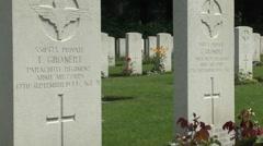 Graves of twin brothers Claude & Thomas Gronert, Arnhem Oosterbeek War Cemetery. Stock Footage